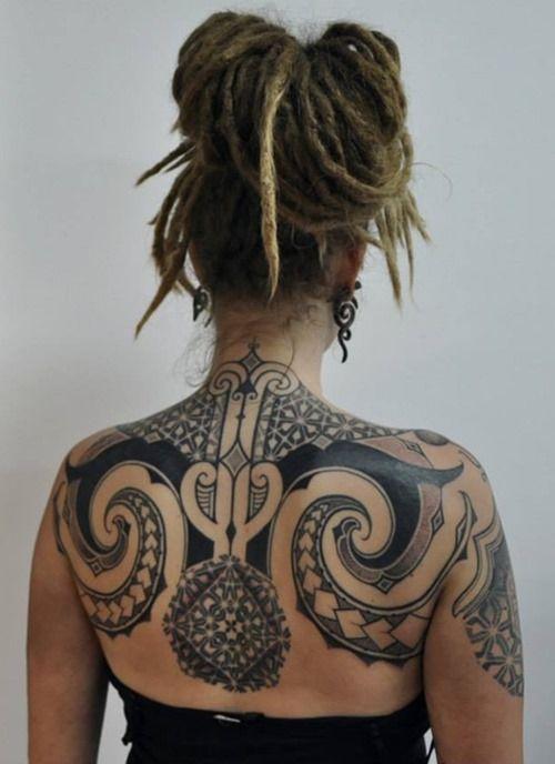 Cool Back Tattoo for Women by Stefan Halbwachs