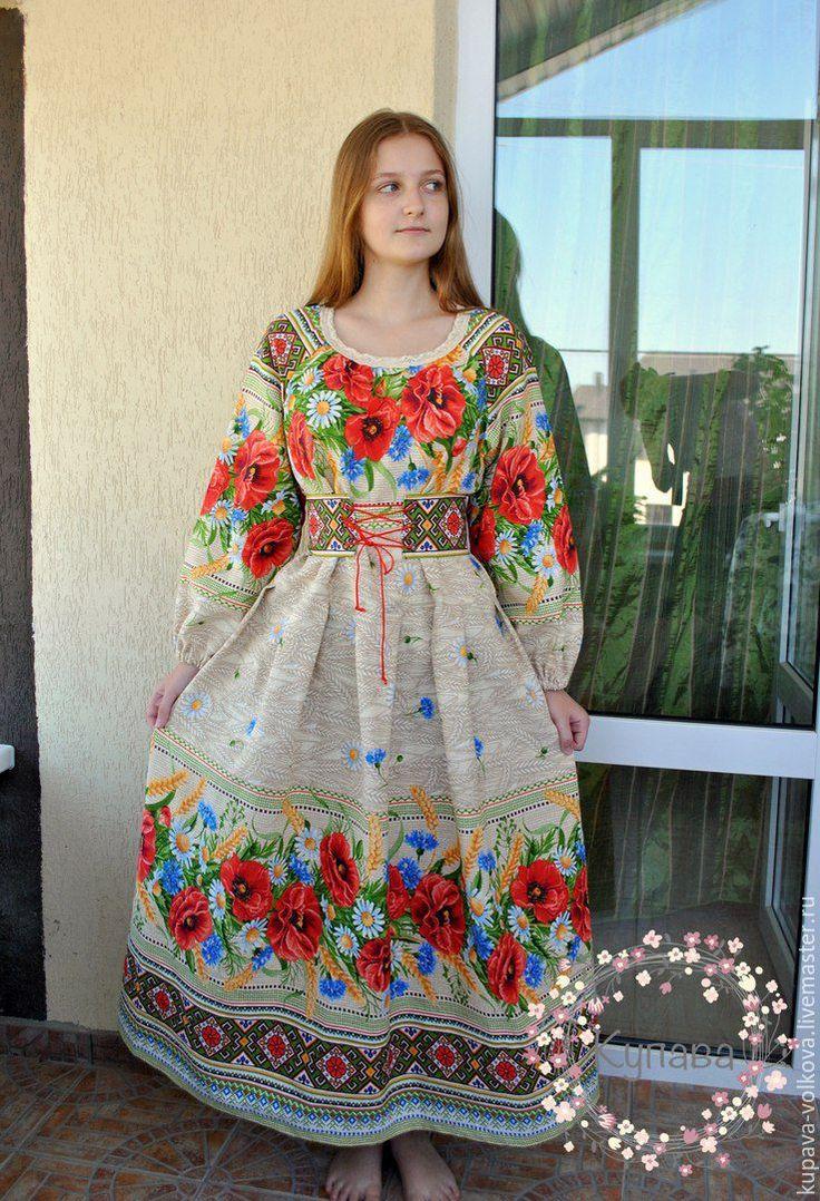 """Купить Платье """"Поляночка"""" - комбинированный, орнамент, цветочный принт, натуральный хлопок, шнуровка, корсетный пояс"""