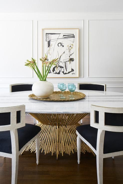 Brass and marble dining table
