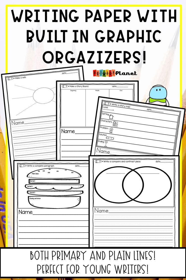 Help your elementary students keep their writing organized! This no-prep, printable writing paper has built-in graphic organizers for writing. Horizontal papers with both plain and primary lined with borders, and a variety of graphic organizers such as opinion, persuasive, narrative, expository, informational, and paragraph writing!  Creative writing worksheets for Writing Centers or Writing workshop! Click the picture to see all of the fun choices! {first grade, second grade, third grade}