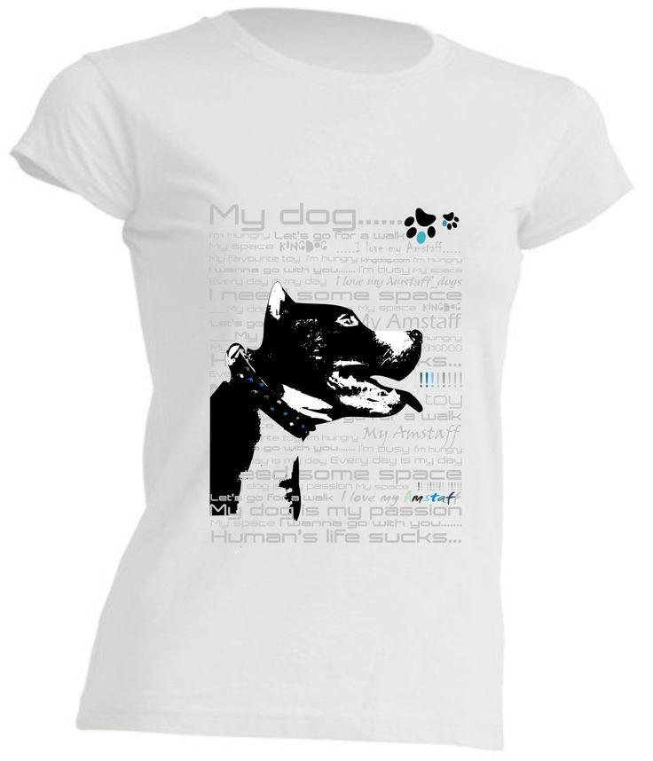 koszulka damska z psem_amstaff