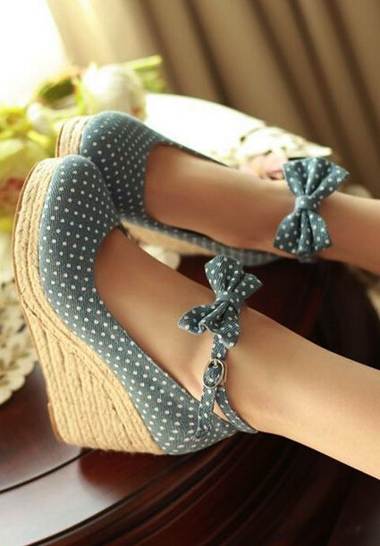 Ladies Sweet Polka Dot Ankle Bow Espadrilles Wedge High Heel Court Shoes 6612