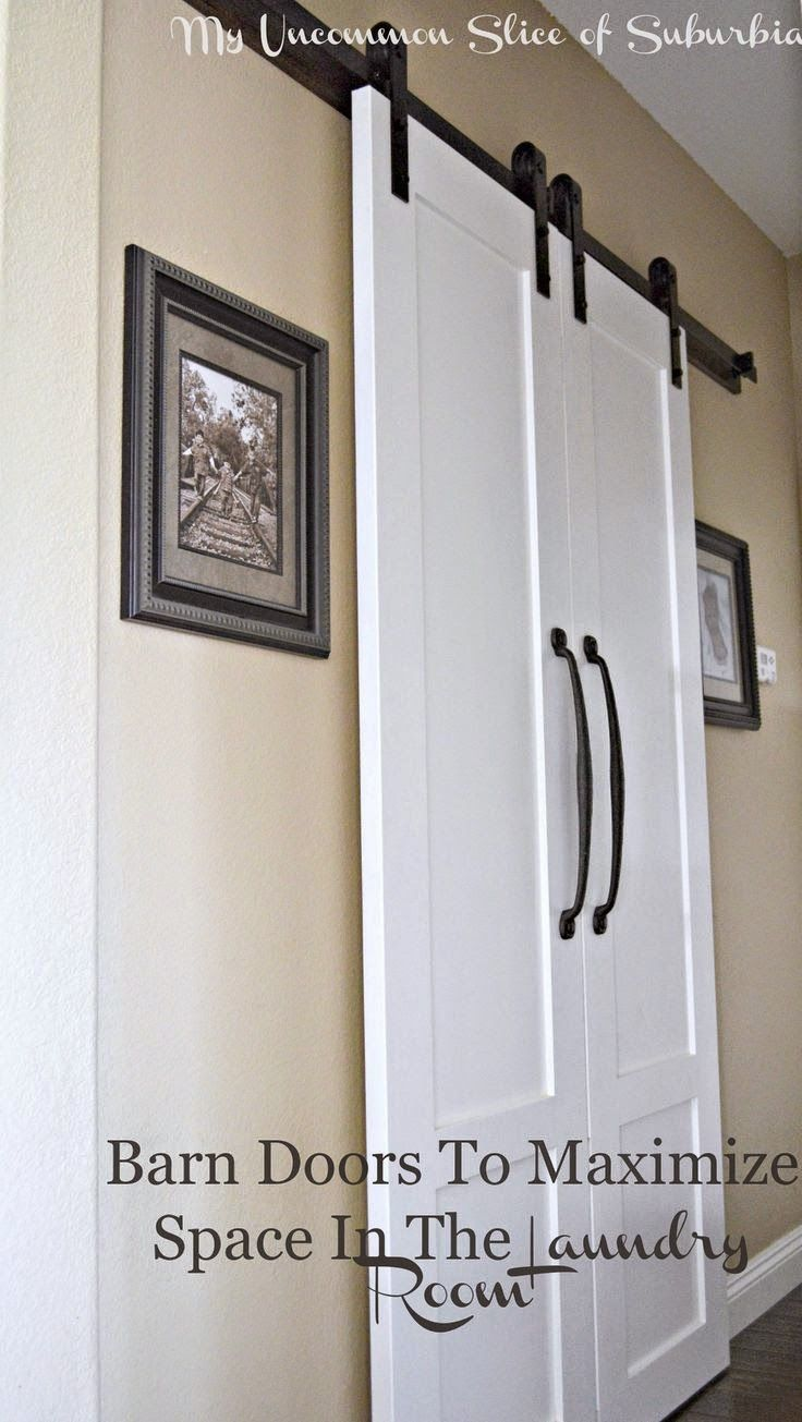 DIY And Crafts: Save space in a small room by replacing a regular door with sliding Barn Doors. This was the perfect solution for the Laundry Room!