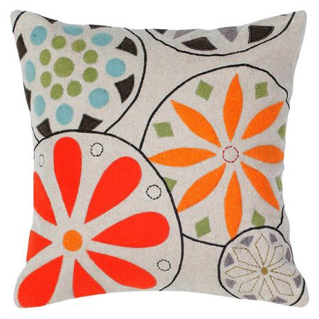 Add a pop of pattern to your living room sofa or guest bedding with this felt throw pillow, featuring multicolor medallion appliques.   ...