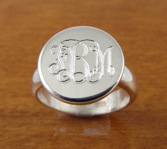 """Monogram ring, Initial Ring, Personalized Ring, Engraved ring. This monogram ring is hand crafted of sterling silver. The band is a heavy 4 1/2 mm wide with a 1/2"""" or (8mm) diameter monogram plate on top. This monogrammed ring has a great traditional look and makes an excellent bridesmaids gift."""