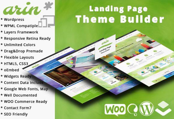 Arin Landing Page Theme Builder WP by joyologo on Creative Market