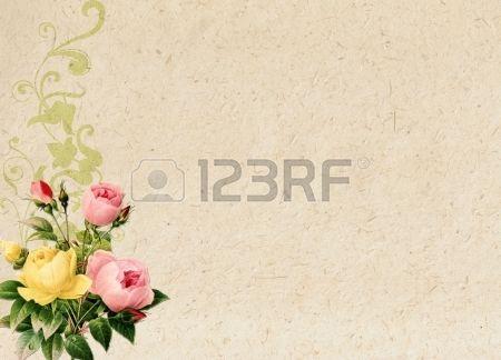 romantico sfondo vintage retr con rose e ornamento floreale Archivio Fotografico