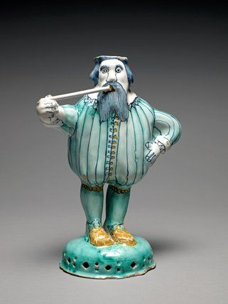 Figure of Nobody, English Delftware tin-glazed earthenware, moulded and painted, height 23.3cm, 1675. Brislington Pottery, possibly, London.