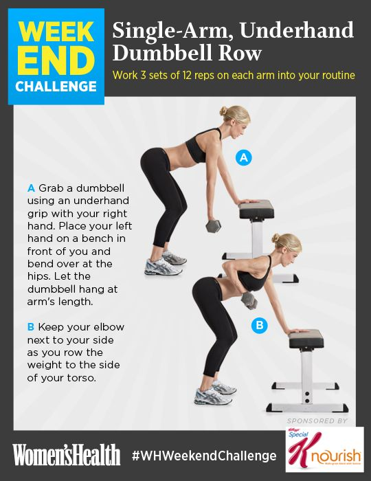 REPIN IF YOU'RE IN! Weekend Challenge: Single-Arm, Underhand Dumbbell: http://www.womenshealthmag.com/fitness/weekend-challenge-single-arm-underhand-dumbbell-row?cm_mmc=Pinterest-_-womenshealth-_-content-fitness-_-weekendchallenge #WhWeekendChallenge