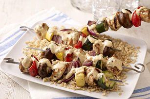 Brochettes de poulet épicé et de légumes