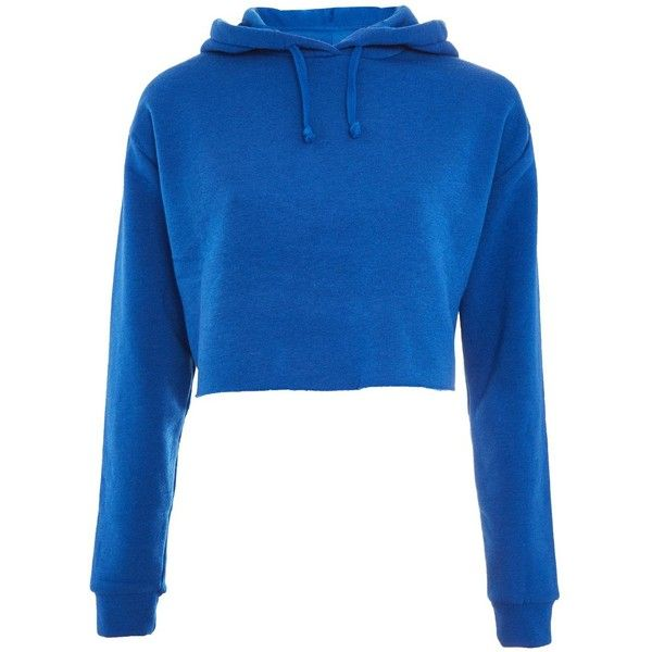 TopShop Petite Cropped Hoodie ($48) ❤ liked on Polyvore featuring tops, hoodies, blue, crop tops, petite hooded sweatshirt, hooded sweatshirt, blue top and topshop hoodies
