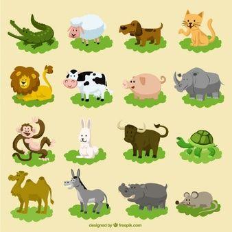 Conjunto de animais engraçados dos desenhos animados