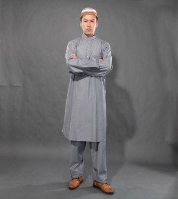taqiyah islamico masculino tunica cinza