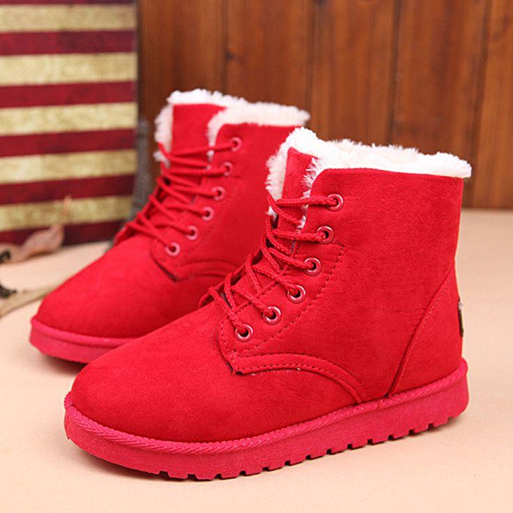 Botas Femininas Женщины Сапоги Узелок Лодыжки Ботинки Женщин Теплые Женские Зимние Сапоги Женские Красный Черный #CLICK! #clothing, #shoes, #jewelry, #women, #men, #hats, #watches