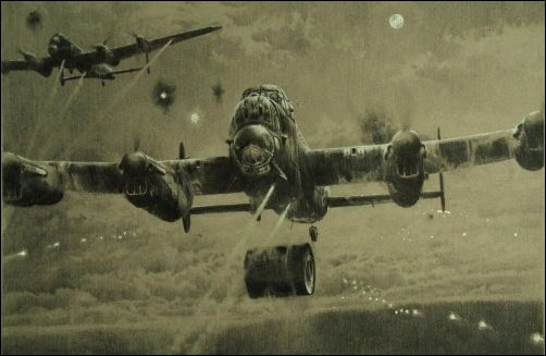 Avro Lancaster dropping a dam buster; Bomb Away by Robert Taylor