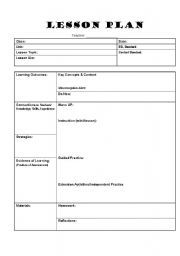 English worksheet lesson plan template craftyness for Outline of a lesson plan template