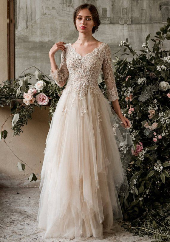Sample Sale Champagne Bohemian Wedding Dress Boho Wedding Dress