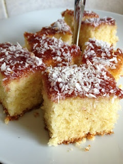 Lady of Vintage Baking Recipe: Coconut and Jam Sponge