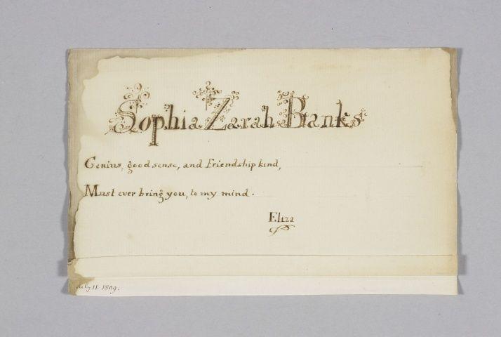 Note addressed to Sophia Zarah Banks  circa 1800circa 1818 by Princess Elizabeth, Landgravine of Hesse-Homburg, consort of Friedrich VI, Landgrave of Hesse-Homburg (1770-1840)