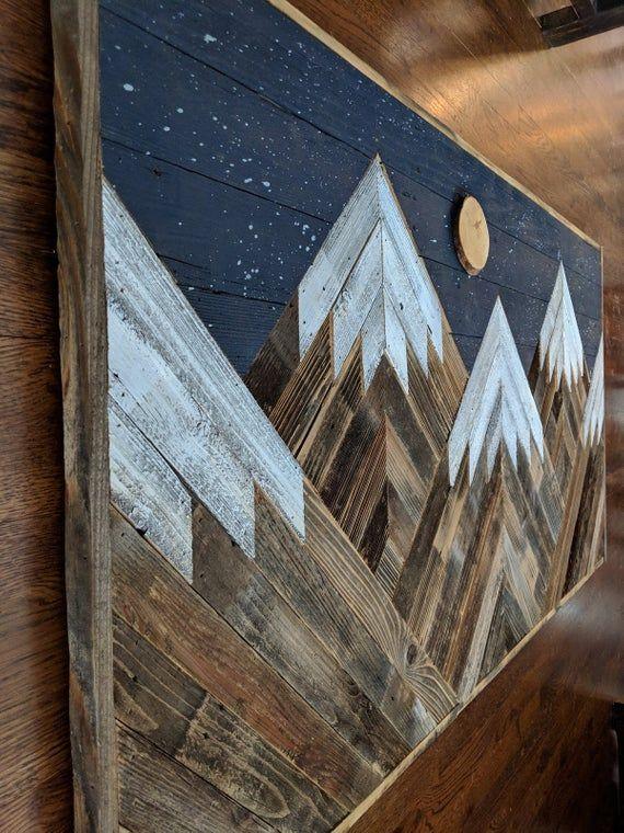 Handmade reclaimed wood snowcapped mountain peaks with night sky, moon and stars wall art