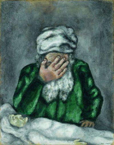Marc Chagall. Abraham pleurant Sarah, 1931, gouache préparatoire pour la Bible, gouache sur papier,