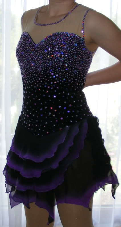 good length, seems longer than off the model.....Competition Ice Figure Skating dress/Twirling/Dance Made To Fit