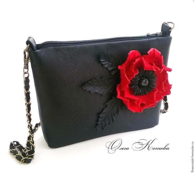 Купить Черная женска сумочка клатч из кожи Сочный красный мак сумка кожаная - черный