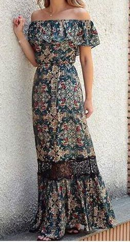#boho #fashion #spring #outfitideas | Gorgeous boho chic maxi dress