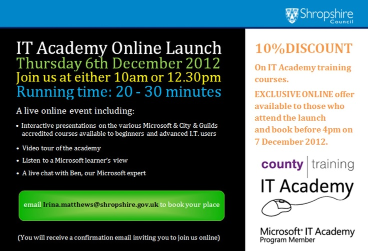 Microsoft IT Academy Online Launch -6th December 2012
