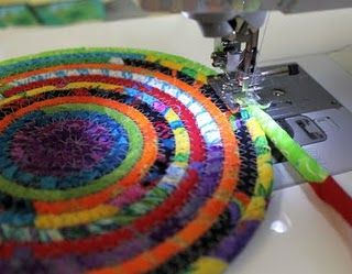Coiled mats from scraps - here's a tutorial: http://www.craftstylish.com/item/33825/how-to-sew-a-fabric-bowl/page/all