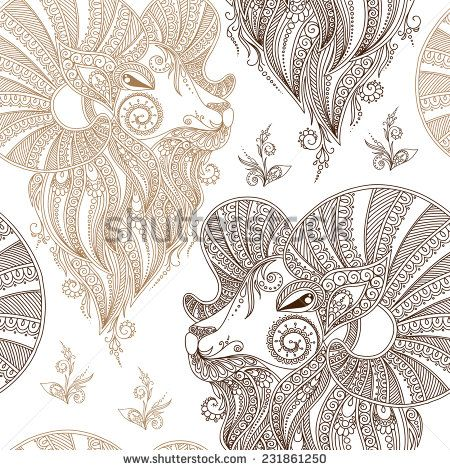 Ram's head. Symbol of the new year. Christmas background. Vector  seamless pattern.  Mehendi style