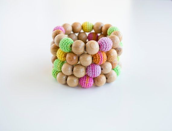 Wooden teething bracelet 1 pc with crochet beads and by MyFirstToy