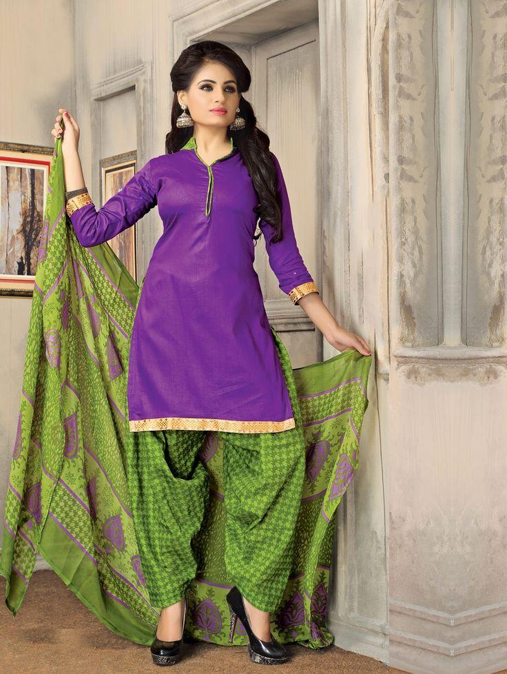 Purple Cotton Suit with Zari Work