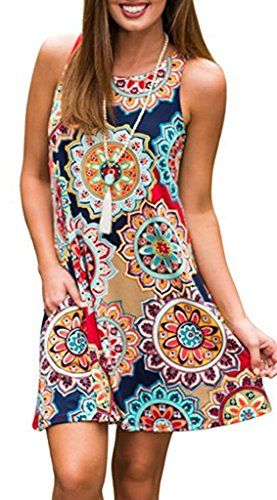 356e2f1adc Moskill Boho Tshirt Dresses for Women Sleeveless Summer Beach Floral Shift  Pockets Casual Swing Loose Damask