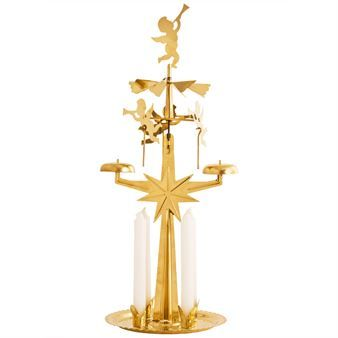 The authentic Swedish Angel Chimes  is probably the most traditional Christmas decoration in Sweden. When burning, the heat from the four candles' flames spins the angels which tinkle the bells.