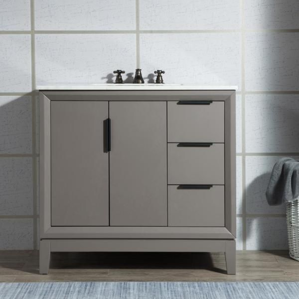Water Creation Elizabeth Collection 36 In Bath Vanity In Cashmere Grey With Vanity T In 2020 Marble Bathroom Vanity Single Sink Bathroom Vanity White Marble Bathrooms