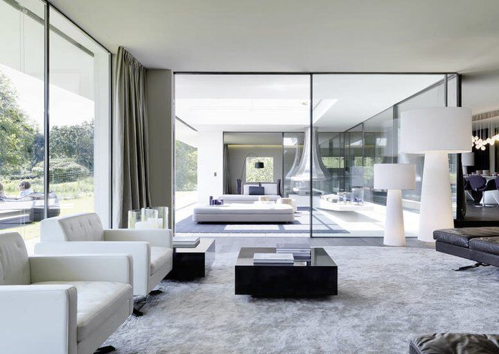 Contemporary Interior Bodentiefe FensterTreppenWohnzimmer ArchitekturWohnenHausLuxus WohnzimmerWohnrumeModerne Inneneinrichtung