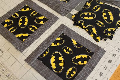 Easy directions for cutting, sewing and finishing a child's batman quilt