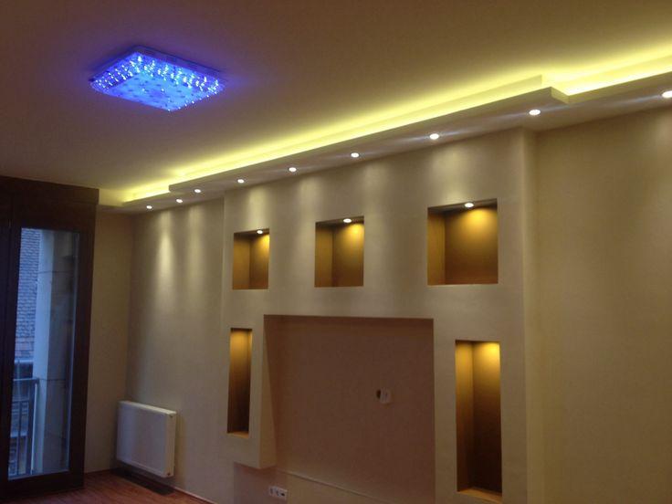 Drywall built-in media wall with hidden lights by www.drywell.hu