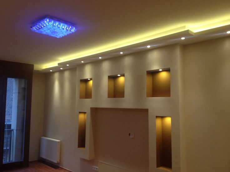 Drywall Gypsum Walls : Drywall built in media wall with hidden lights by