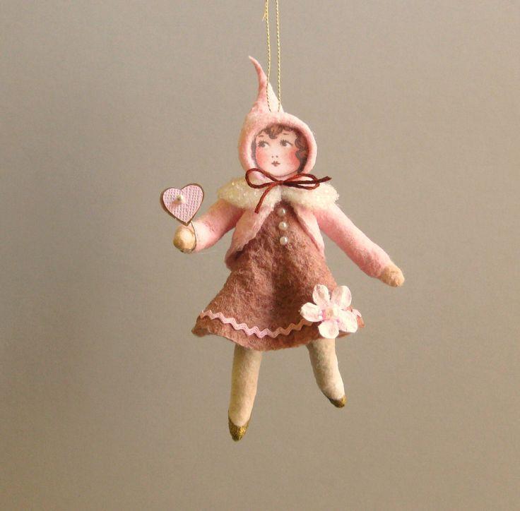 Spun Cotton Ornament - Valentine's Girl Paula - Plumpuppets by PlumPuppets on Etsy https://www.etsy.com/listing/262253767/spun-cotton-ornament-valentines-girl