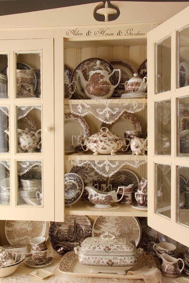 Aiken House & Gardens: My Cupboard of Brown & White Transferware