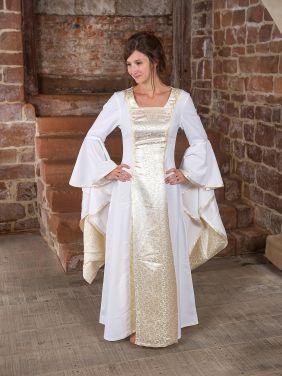 Edles Mittelalter-Hochzeitskleid weiß mit goldenem Einsatz