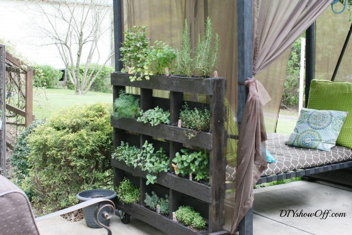Free Standing Pallet Herb Garden - DIY Show Off ™ - DIY Decorating and Home Improvement Blog