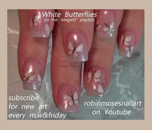 Nail-art by Robin Moses: wedding nails, white butterfly nail, butterfly nails, mac eyeshadow nails, mac reflects pearl, bride and groom nail, cute wedding nail, easy wedding nails, fun wedding nails, elegant wedding nails, wedding nail ideas, robin moses wedding, natural wedding nails,
