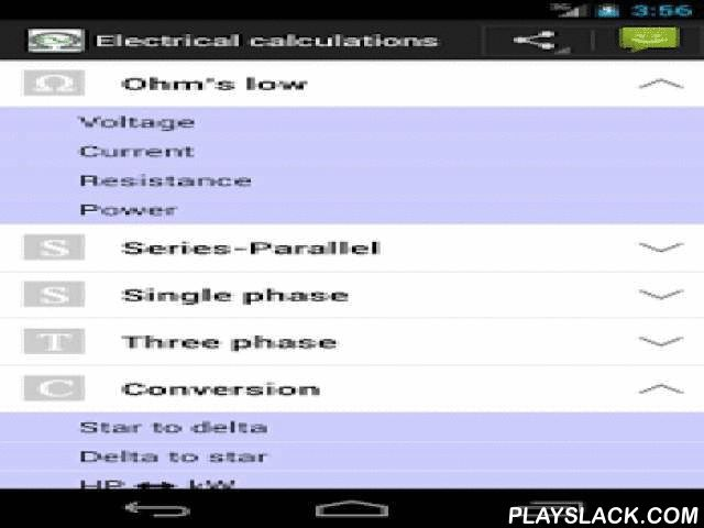 Electrical Calc & Formulas  Android App - playslack.com ,  One App for different electrical calculation.One of the best feature of this application is it contains calculators with its formula used in Calculation.Features and Calculation:→ Voltage(ohm's law)→ Current(ohm's law)→ Resistance(ohm's law)→ Power(ohm's law)→ Resister in series→ Resister in parallel→ Capacitor in series→ Capacitor in parallel→ Inductor in series→ Inductor in parallel→ AC power (single phase and three phase)→ AC…