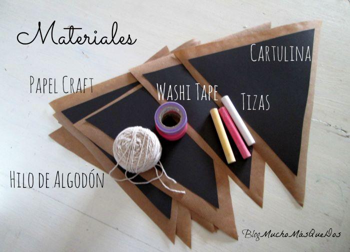 Mucho Más Que Dos: DIY Banderines Muy top . Washi tape + Chalk Board