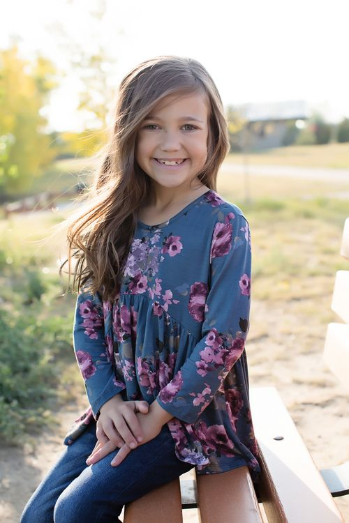 Blue Floral Hi Low Top, Top, Long Sleeve Top, Floral Print Top, Ruffle Top, Ryleigh Rue Clothing, Boutique, Fashion, Online Shopping, Online Boutique, Style, Fashion Blogger