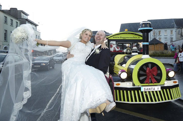 All Aboard! Noelle & John Paul Sheridan, St Herblain Park, celebrated their Wedding as Waterford Winterval got underway, starting their own journey on the Winterval Express!