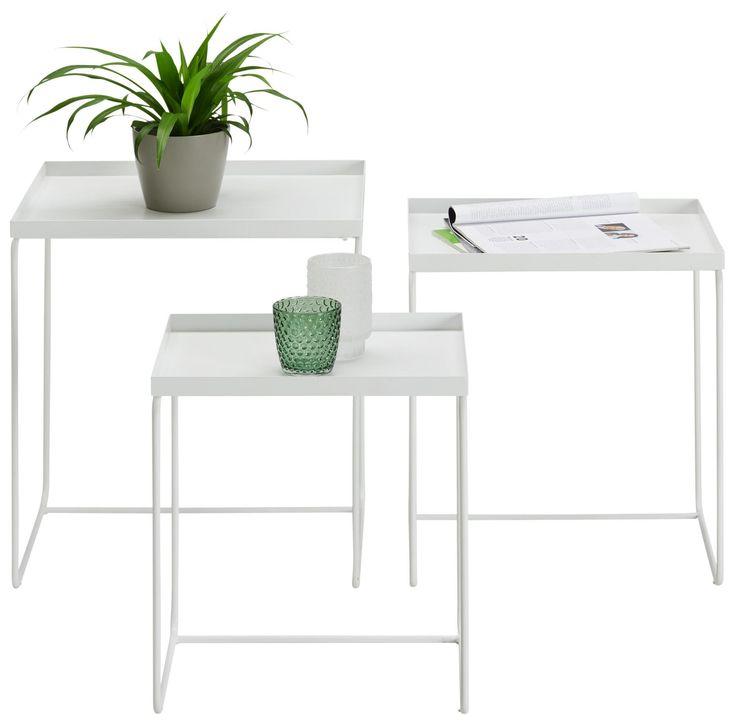 Beistelltischset Aus Metall In Weiss 3 Teilig Online Kaufen Momax Tischset Beistelltisch Weiss Beistelltisch Metall
